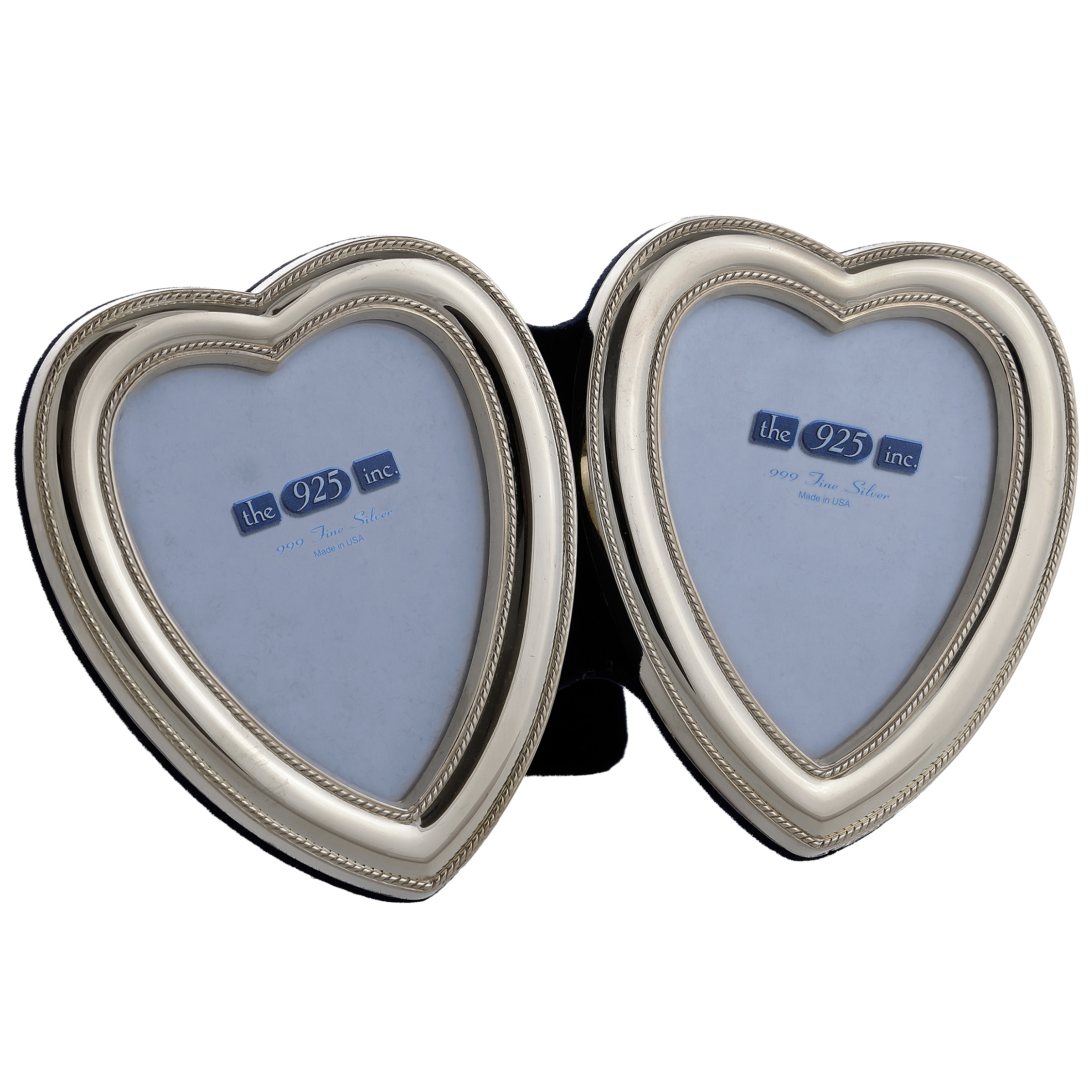 111-9D Beaded Double Silver Heart Frame Image